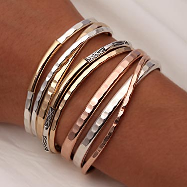 round prod silver bangles beaded linear hammered sterling ourshop bangle stacking set